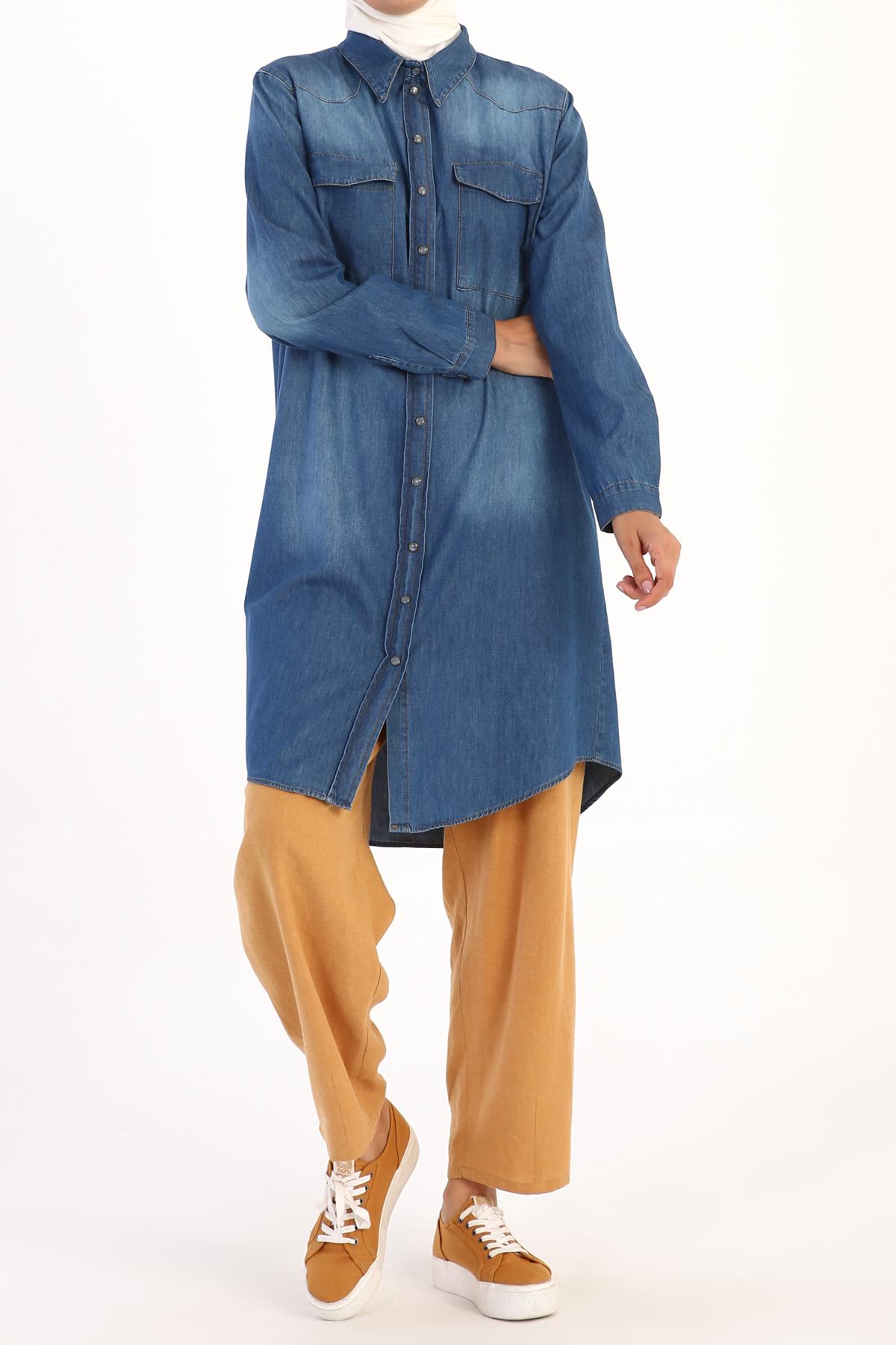 Pocket Detailed Cotton Long Jean Shirt