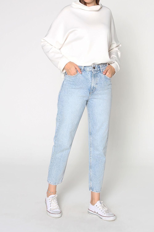 Buttoned Hijab Denim Mom Pants