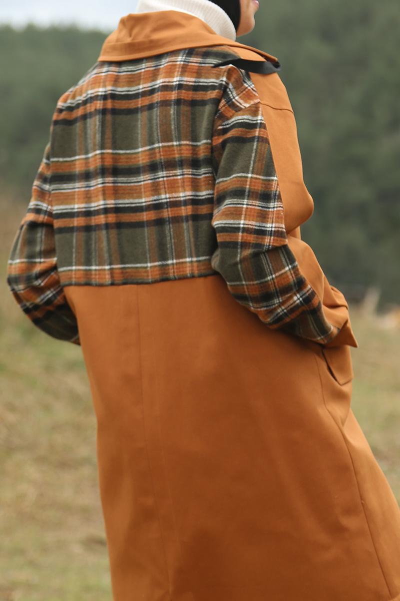 Pamuklu Ekose Garnili Cepli Çıtçıtlı Ceket