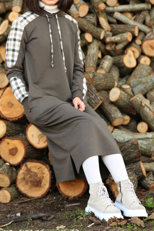 Plaid Sweatshirt Tunic