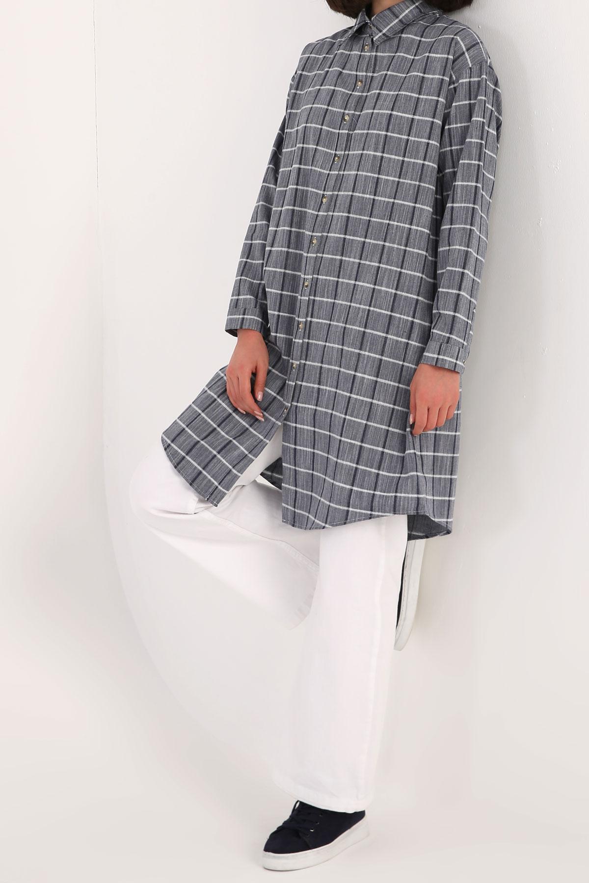 Plaid Comfy Cotton Long Tunic