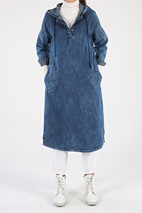 Combed Cotton Hooded Pocket Buttoned Tunic