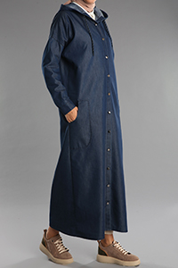 Combed Cotton Hooded Denim Cape