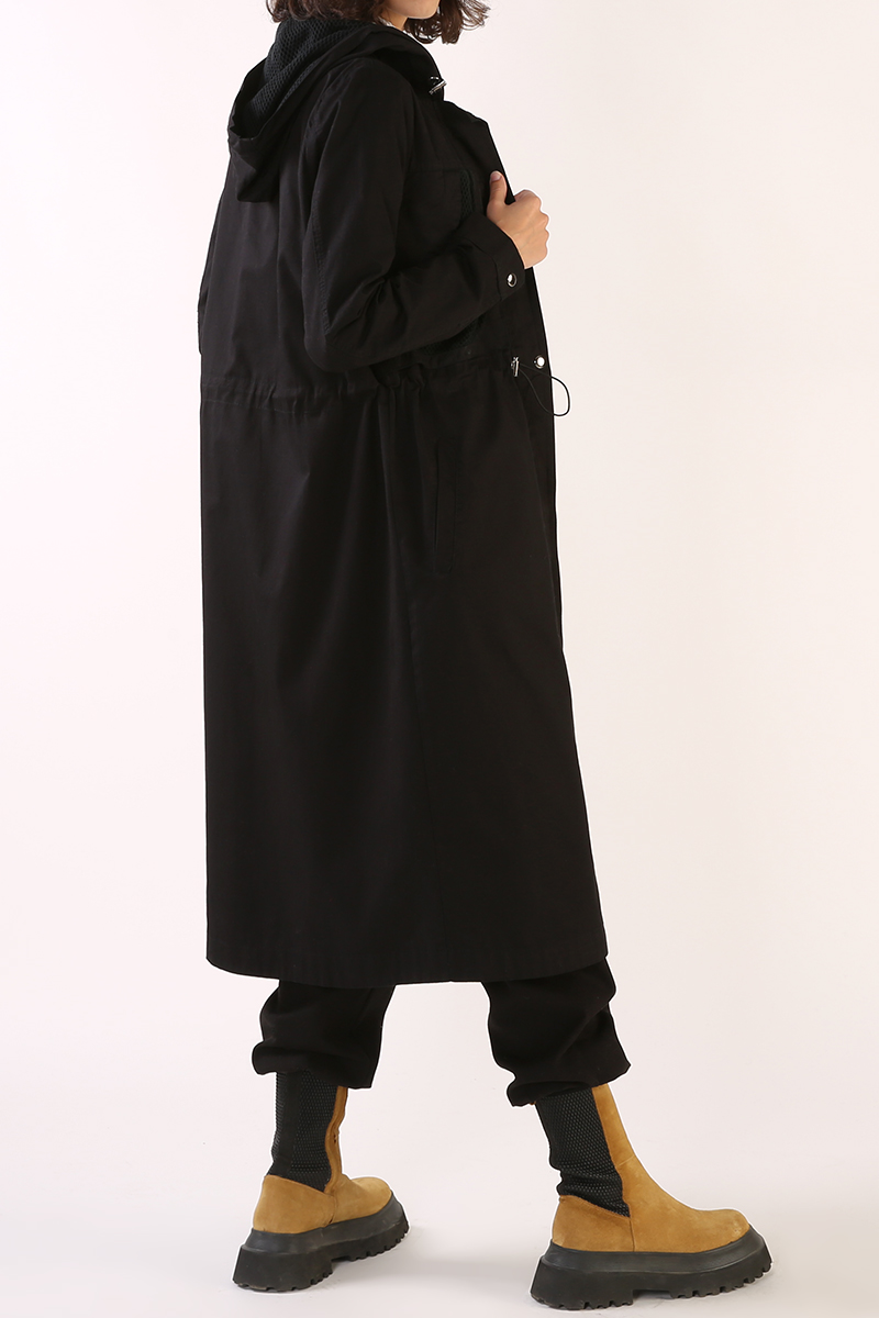 Hooded Pocket Trench Coat