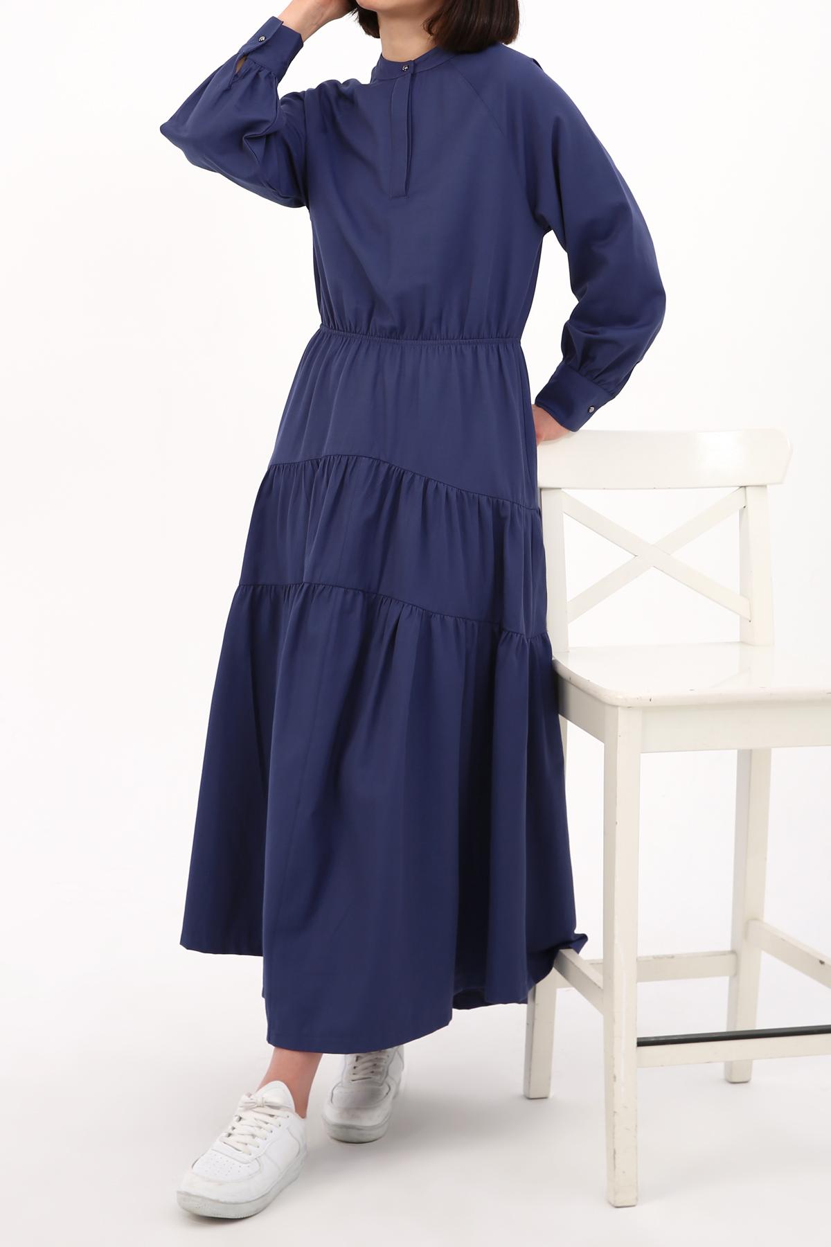 Mandarin Collar Long Blouson Dress
