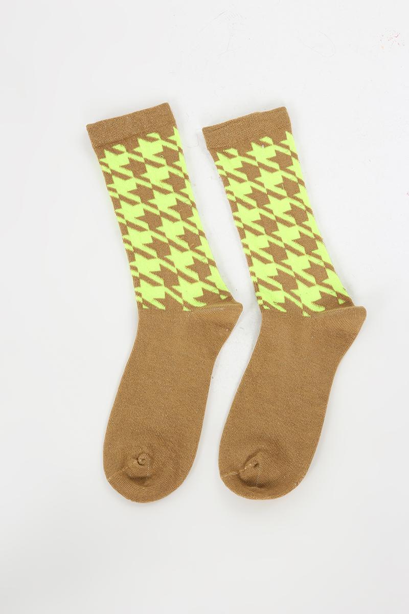Pamuklu Kazayağı Desenli Dikişsiz Çorap