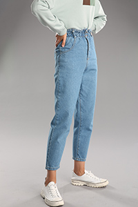 Bel Lastikli Mom Jean Denim Pantolon