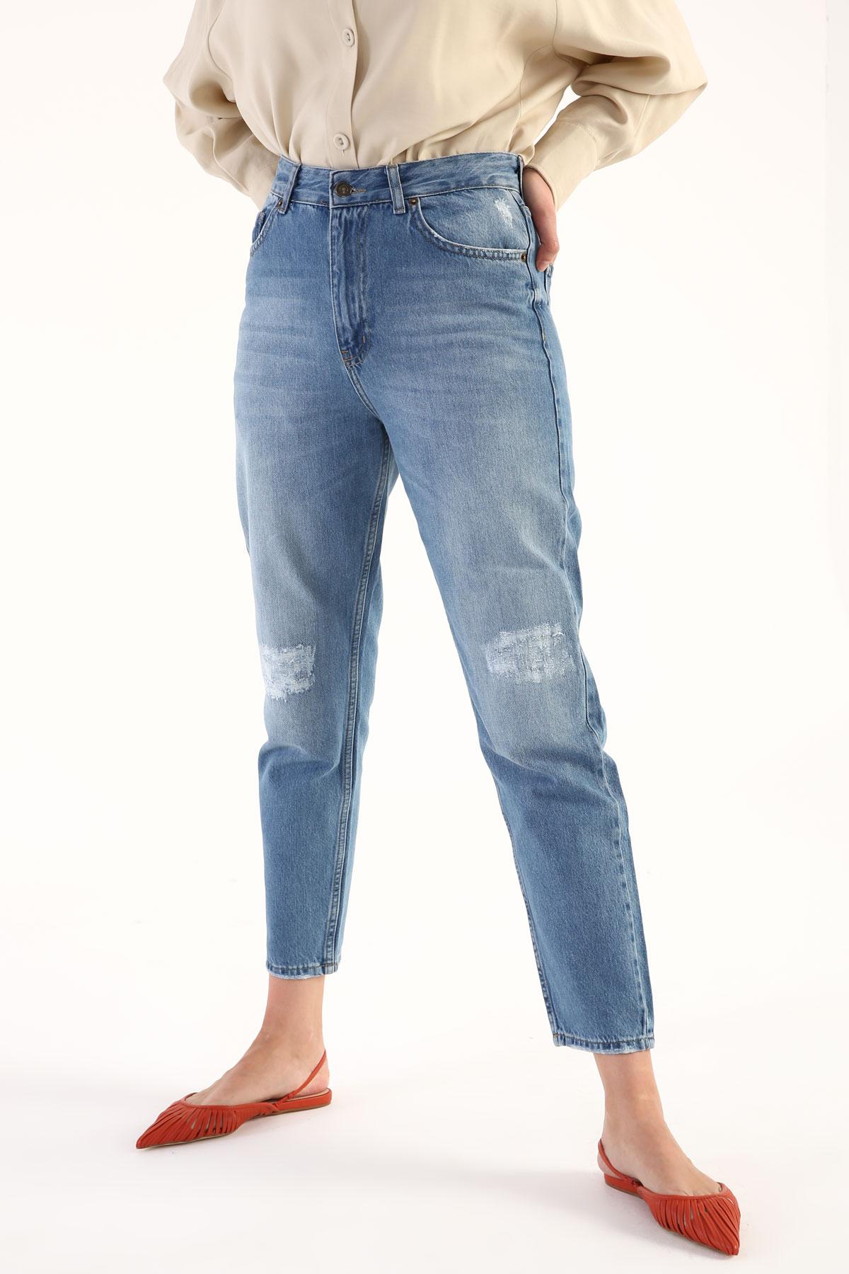 High Waist Slant Pocket Mom Jeans