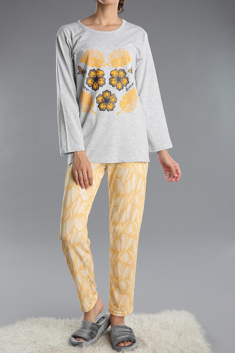Pamuklu Baskılı Desenli Pijama Takımı