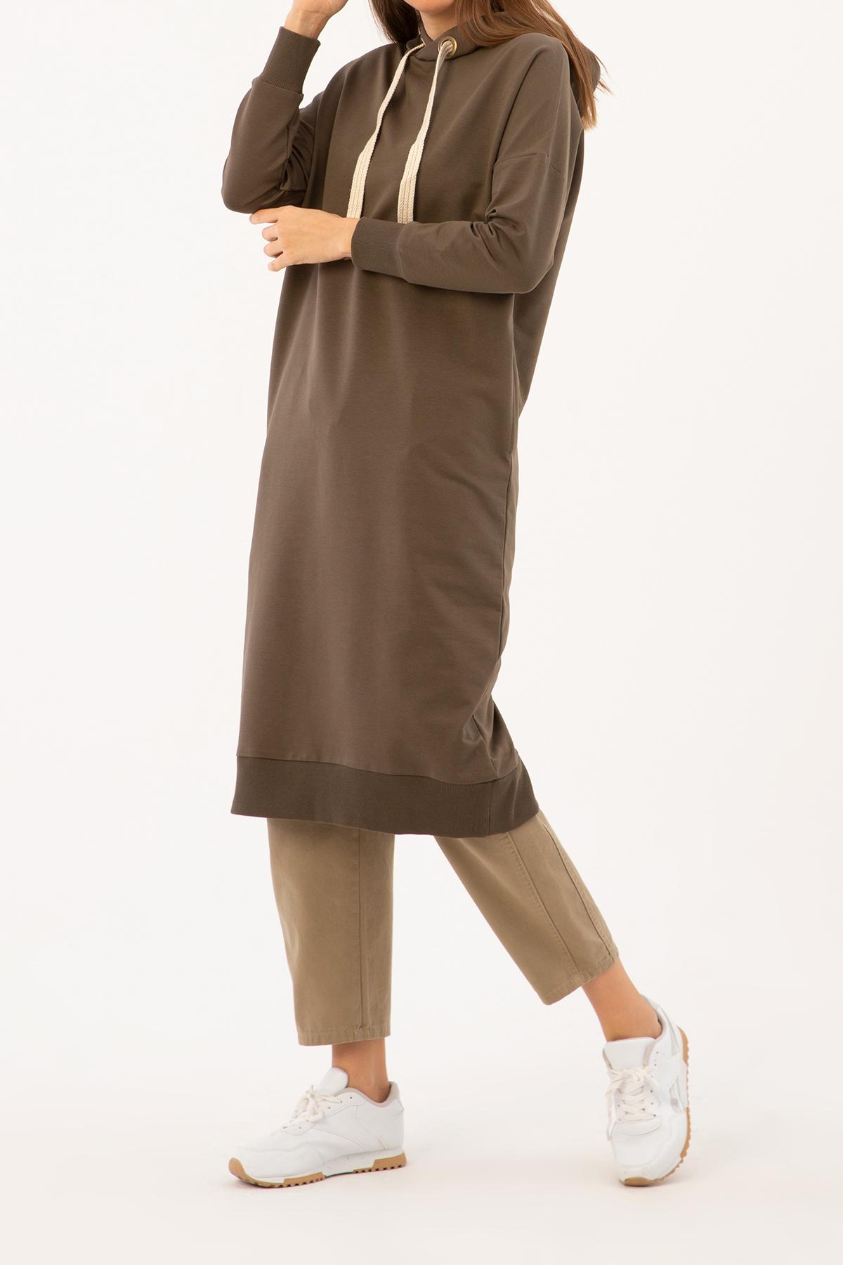 Hooded Pocket Sweatshirt Tunic