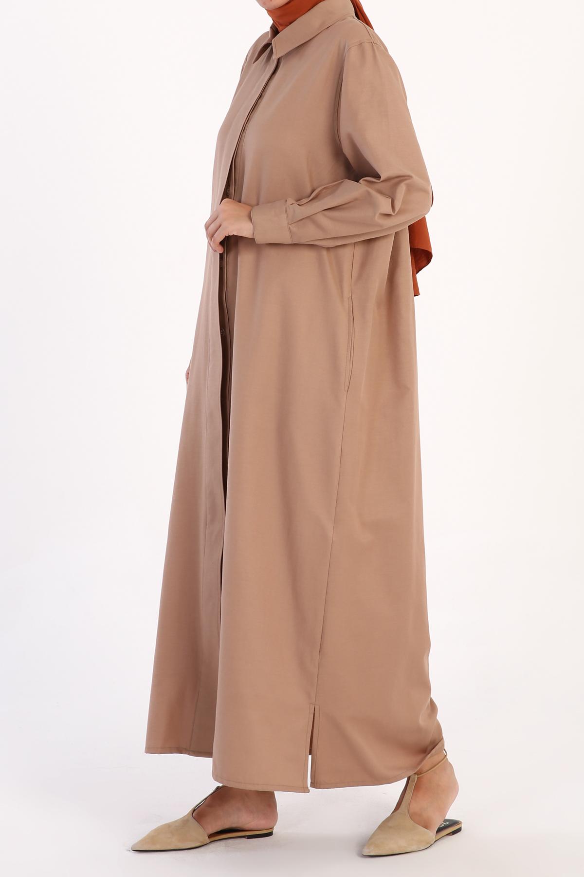 Shirt Collar Abaya With Pockets