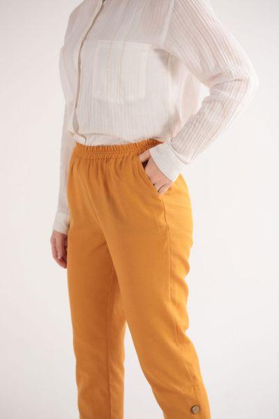 Düğme Detaylı Şeritli Pantolon