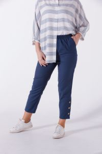 BUTTON DETAIL STRIPED PANTS