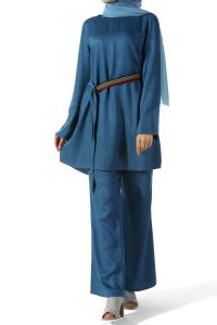 Pantolon Tunik Kuşaklı İkili Viskon Takım