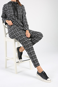 Plaid Pocket Hooded Hijab Suit
