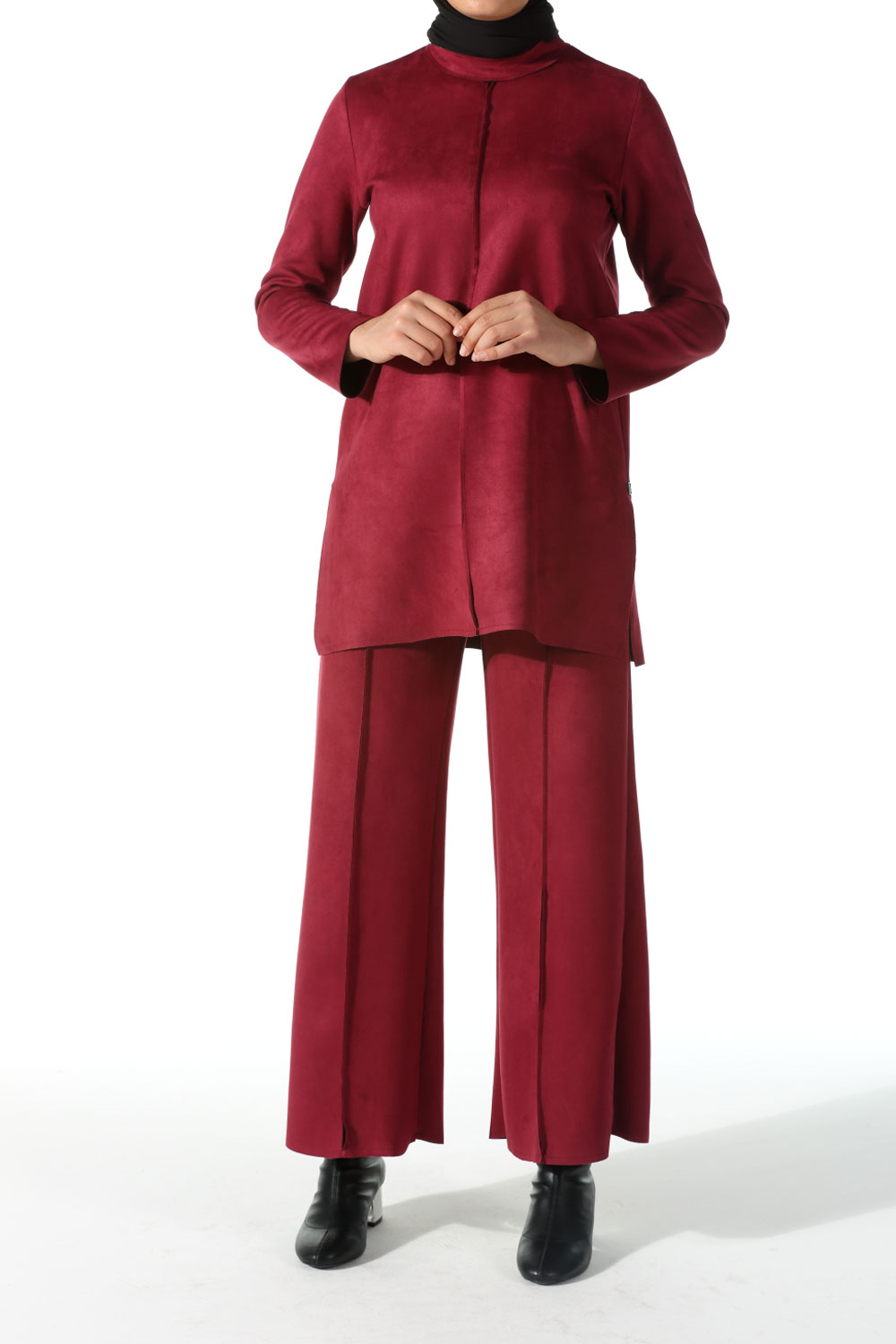 SUEDE HIJAB SUIT WITH PANTS