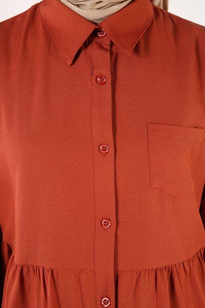 Patlı Cepli Kloş Gömlek