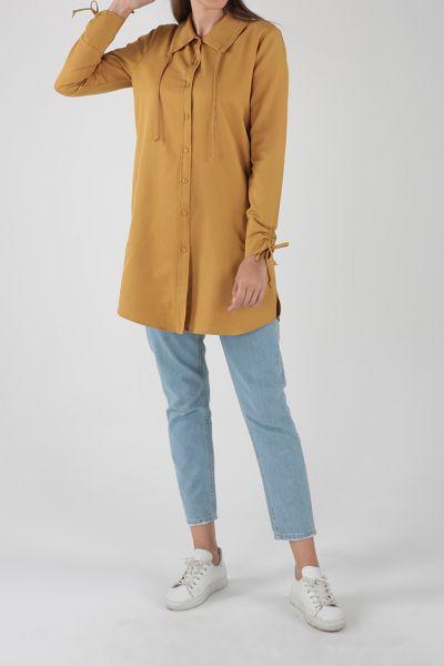 Patlı Kol Büzgülü Cepli Gömlek Tunik