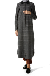 HIDDEN BUTTON PLAID TUNIC