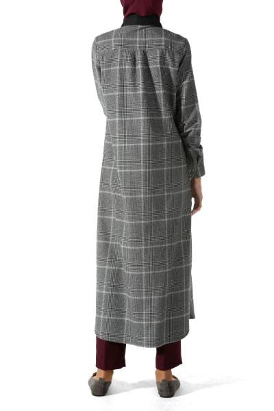 Patlı Uzun Ekose Gömlek Tunik