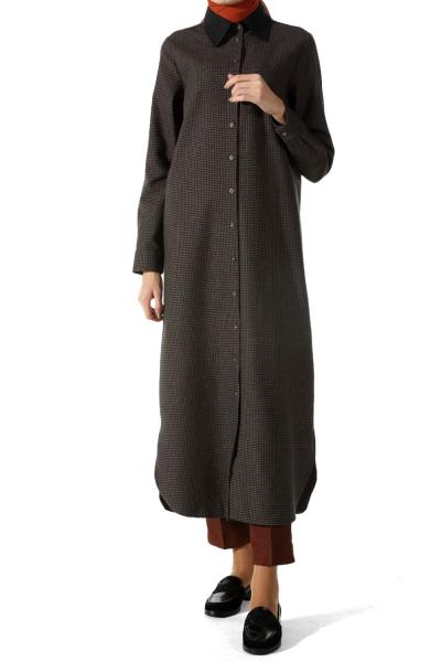 Desenli Patlı Uzun Gömlek Tunik