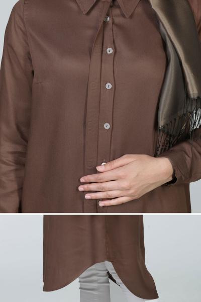 Patlı Yakalı Viskon Gömlek Tunik