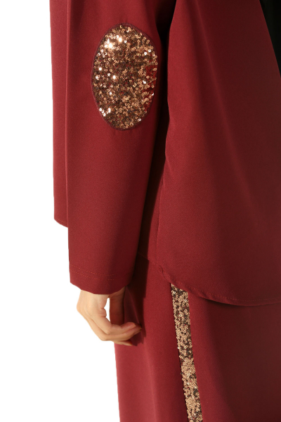 sequin embroidered skirt suit