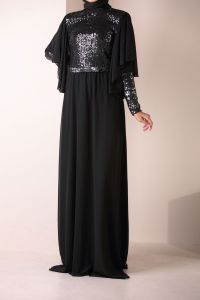 SEQUINED HIJAB EVENING DRESS