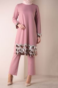 SEQUINED HIJAB SUIT WITH PANTS