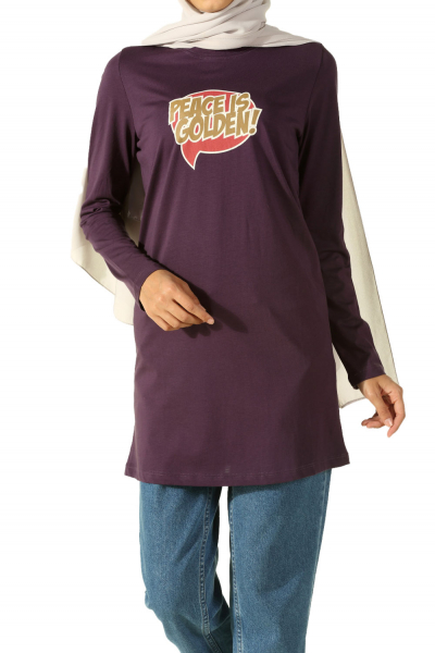 PEACE PATTERNED COMBED COTTON TUNIC