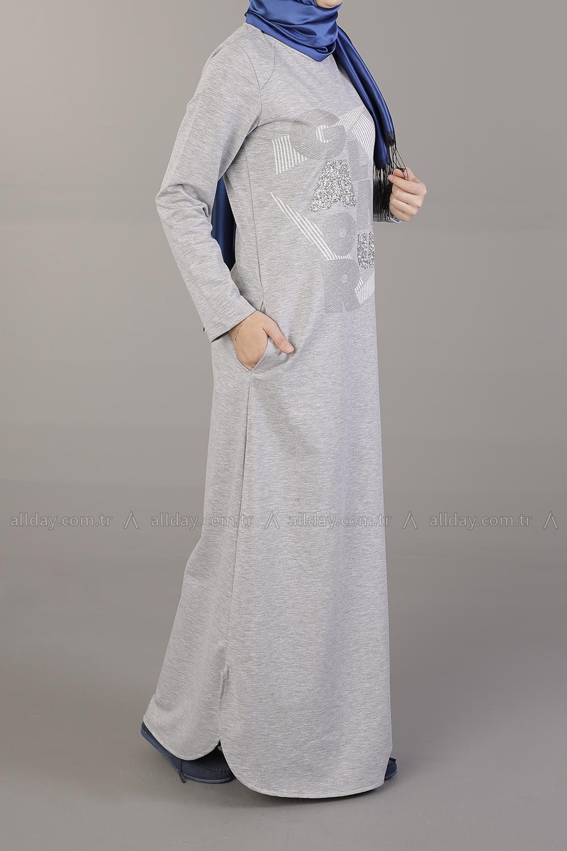 Beli Bağcıklı Penye Elbise