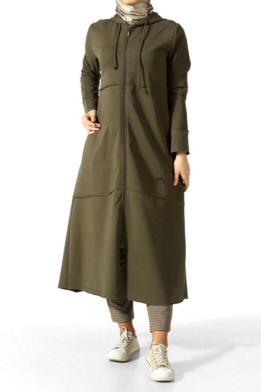 Hooded Long Zippered Sport Cardigan