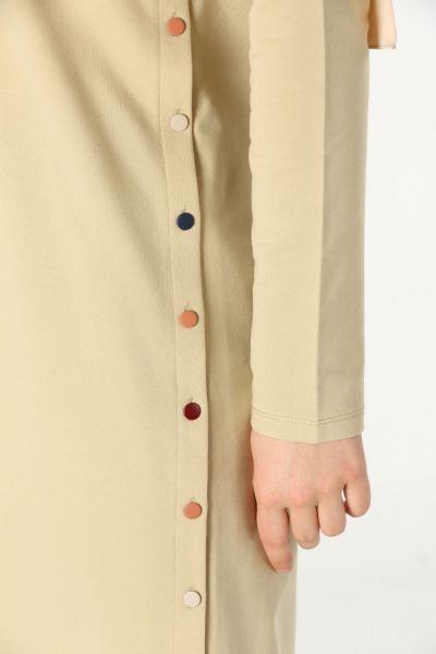 Penye Yanları Renkli Düğmeli Tunik
