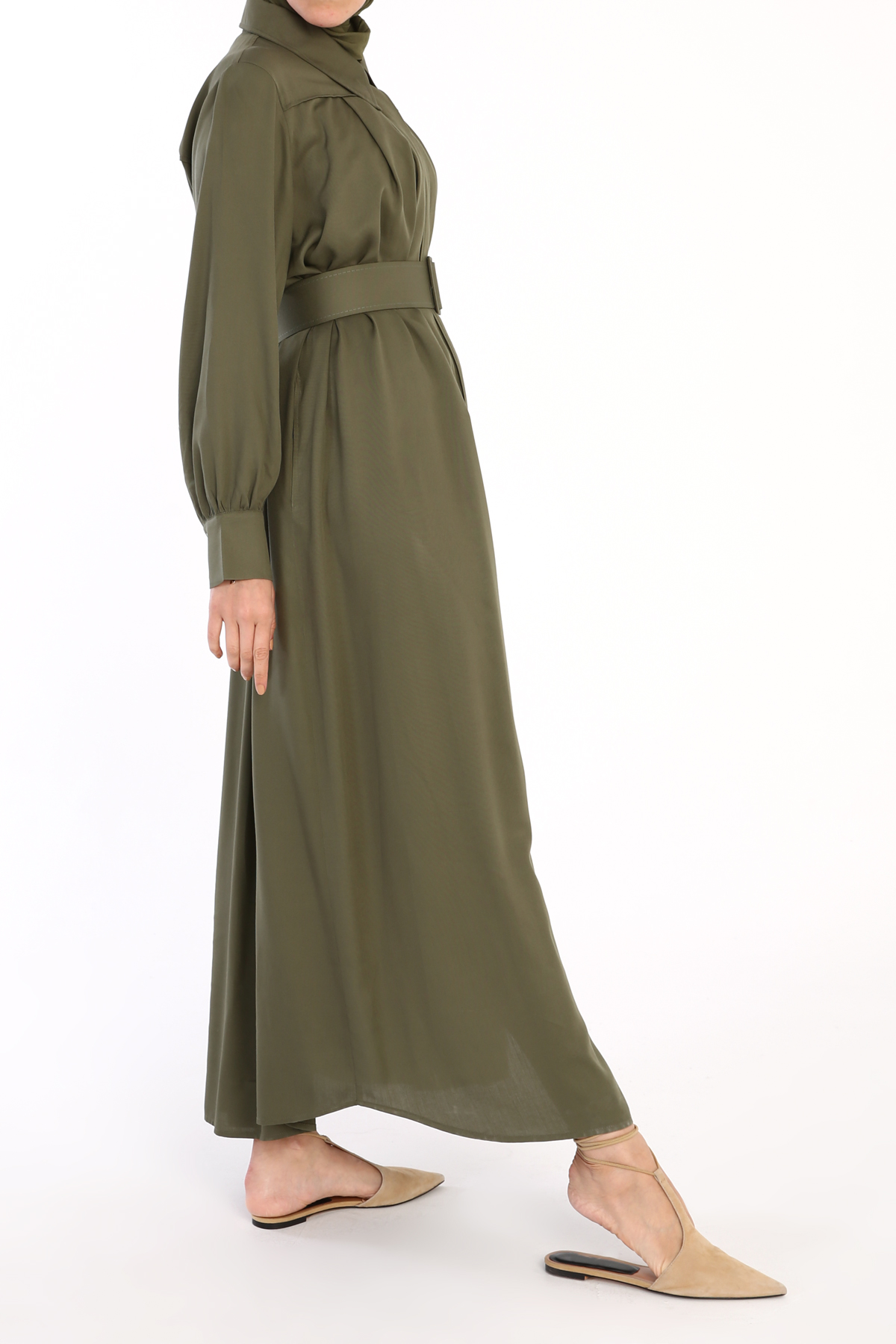 Button Front Pleated Comfy Viscose Abaya