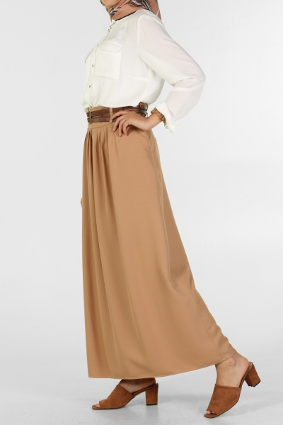 NATURAL FABRIC SKIRT WITH PLEATED AND ARCHED