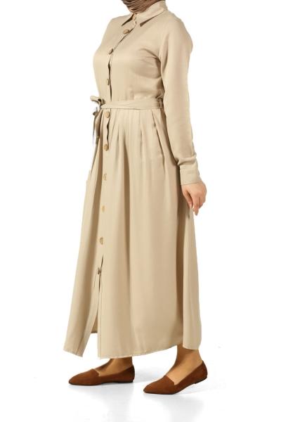 Pileli Kuşaklı Elbise