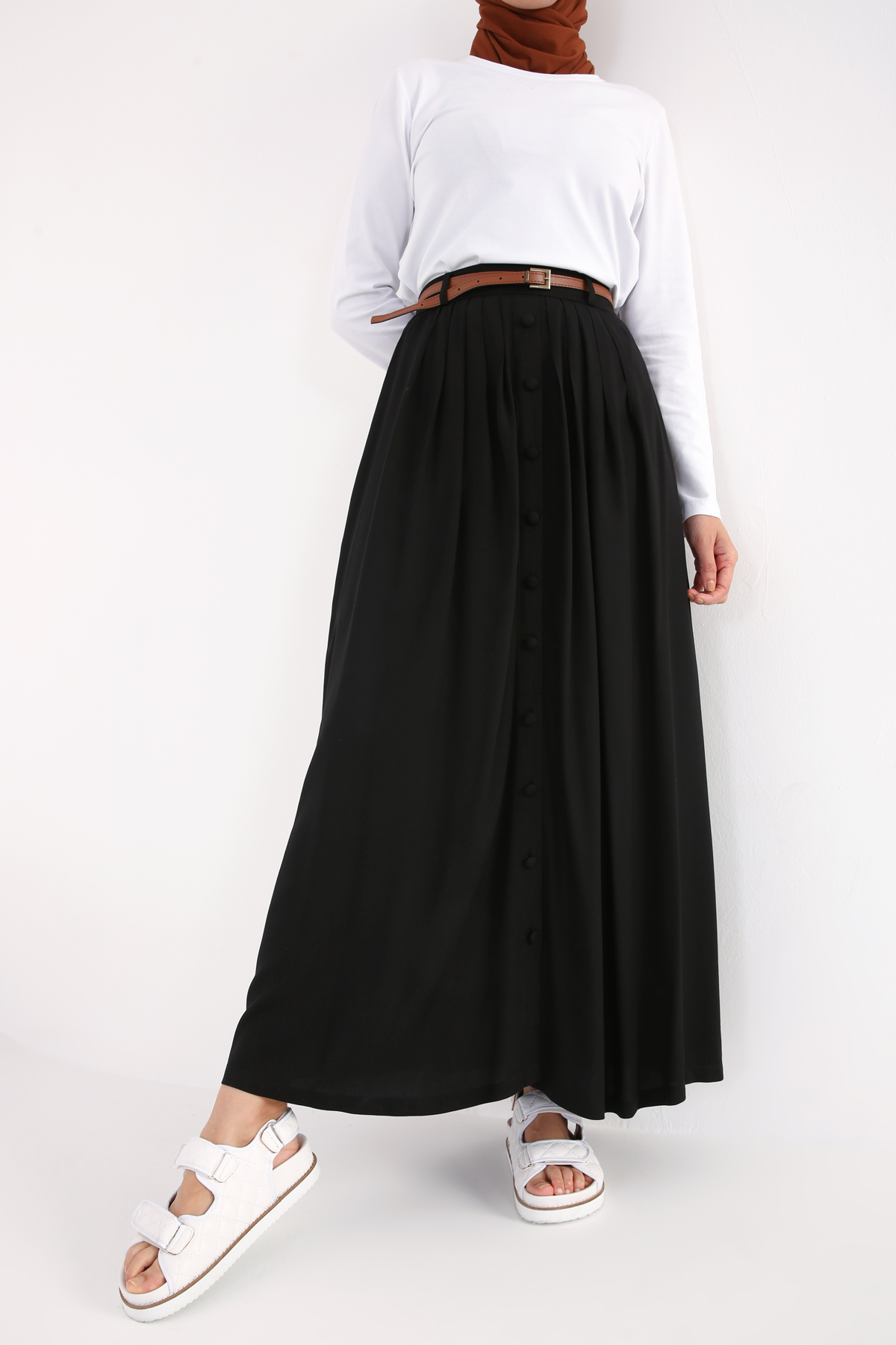 Pleated Button Front Viscose Skirt
