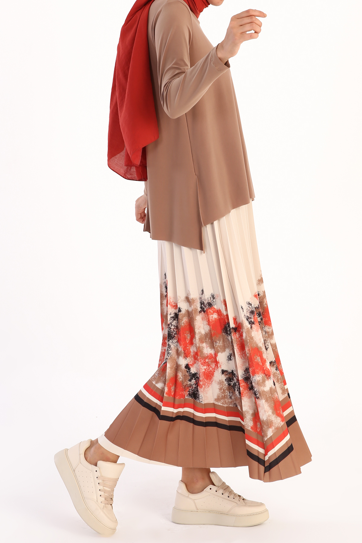 Blouse and Pleated Long Skirt Outfit Set