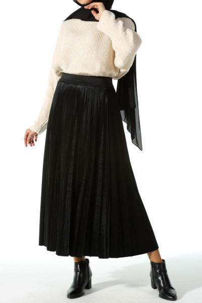 PLEATED LINED VELVET SKIRT