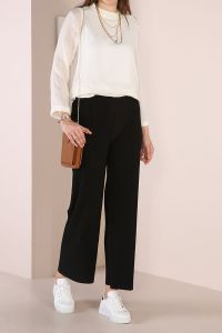 PLEATED HIJAB WIDE LEG PANTS