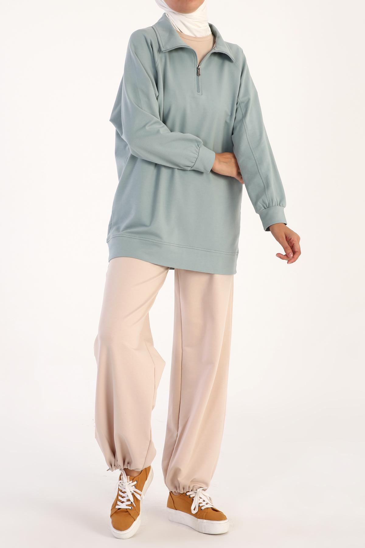 Polo Yaka Fermuarlı Pamuklu Sweatshirt
