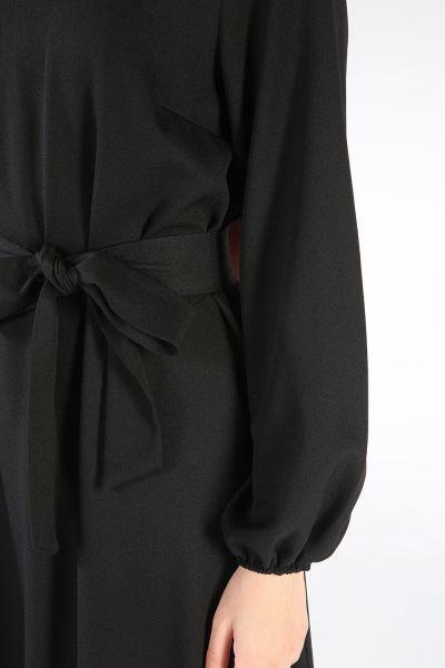 Ponponlu Kuşaklı Elbise