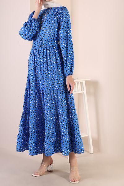 Puanlı Kemerli Elbise