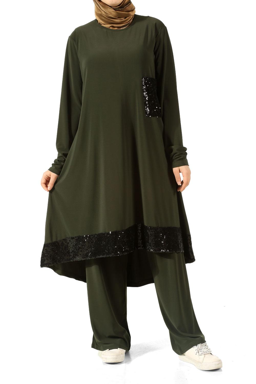 Sequin Detail Hijab Suit