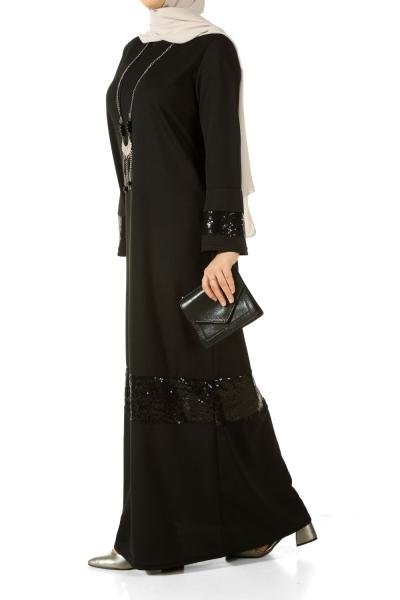 Pul Payetli Kolyeli Elbise