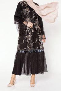 Doğal Kumaş Pullu Abaya