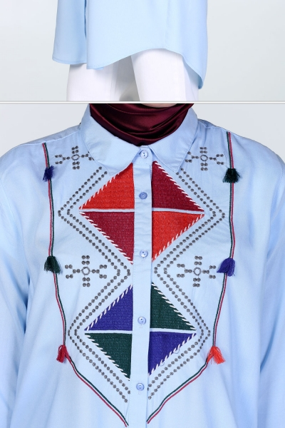 PÜSKÜLLÜ DETAILED EMBROIDERED TUNIC