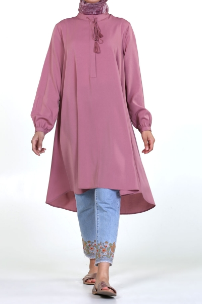 SPRAYED NATURAL FABRIC TUNIC