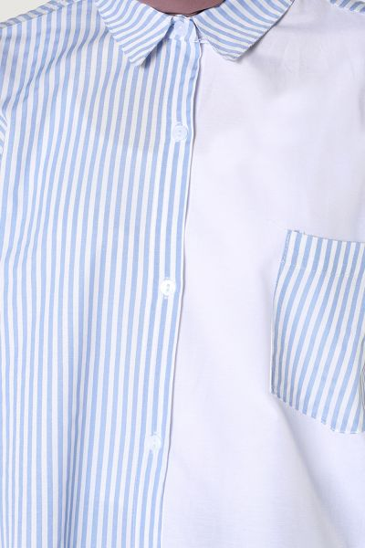 Rahat Kalıp Çizgili Cepli Gömlek