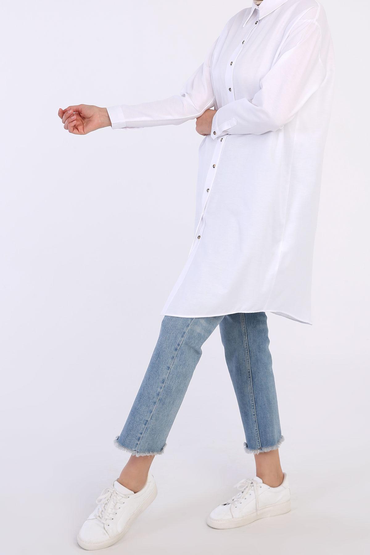 Rahat Kalıp Patlı Uzun Gömlek Tunik